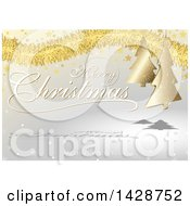 Merry Christmas And Happy New Year Greeting With Gold Tinsel Stars And Trees Over Gray