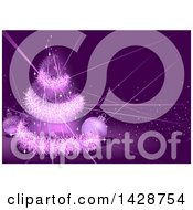 Clipart Of A Purple Christmas Background With A Tinsel Tree Lights And Baubles Royalty Free Vector Illustration by dero