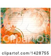 Poster, Art Print Of Watercolor Background Of Baby Jesus And Stars Over Ruled Paper