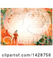 Clipart Of A Watercolor Background Of Mary And Joseph Over Ruled Paper Royalty Free Illustration