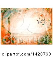 Watercolor Background Of A Christmas Candle And Stars Over Ruled Paper