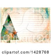 Clipart Of A Watercolor Background Of A Christmas Tree Over Ruled Paper Royalty Free Illustration by Prawny