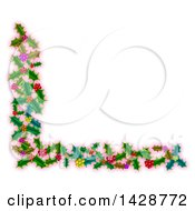 Clipart Of A Corner Border Of Christmas Holly Over Pink Royalty Free Illustration