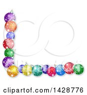 Clipart Of A Border Of Colorful Christmas Bauble Ornaments On White Royalty Free Illustration by Prawny