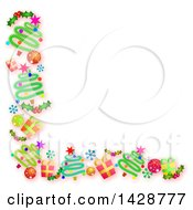 Clipart Of A Border Of Christmas Trees Gifts Snowflakes Holly And Bauble Ornaments On White Royalty Free Illustration by Prawny