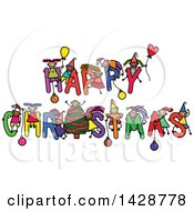 Clipart Of A Doodled Sketch Of Children Playing On The Greeting Happy Christmas Royalty Free Vector Illustration by Prawny