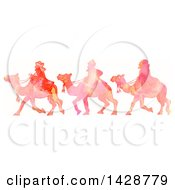 Clipart Of A Watercolor Scene Of The Magi Wise Men On Camels Royalty Free Illustration