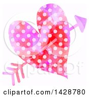 Clipart Of A Watercolor Polka Dot Heart Struck With Cupids Arrow Royalty Free Illustration