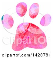 Clipart Of A Watercolor Heart Patterned Dog Paw Print Royalty Free Illustration by Prawny