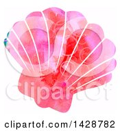 Clipart Of A Watercolor Scallop Shell Royalty Free Illustration