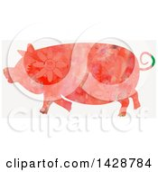 Clipart Of A Floral Patterned Watercolor Pig Royalty Free Illustration
