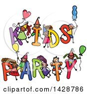 Clipart Of A Doodled Sketch Of Children Playing On The Words Kids Party Royalty Free Vector Illustration by Prawny