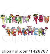 Clipart Of A Doodled Sketch Of Children Playing On The Words Thank You Teacher Royalty Free Vector Illustration by Prawny