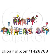 Doodled Sketch Of Children Playing On The Greeting Happy Fathers Day