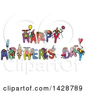 Doodled Sketch Of Children Playing On The Greeting Happy Mothers Day