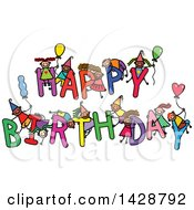 Clipart Of A Doodled Sketch Of Children Playing On The Words Happy Birthday Royalty Free Vector Illustration