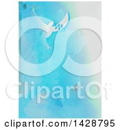 Peace Dove Flying Over A Blue Watercolor Background