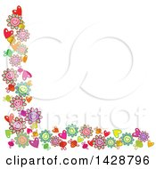 Clipart Of A Border Of Happy Flowers Bees And Hearts Royalty Free Vector Illustration