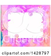 Watercolor Floral Frame With Swirls And Bubbles