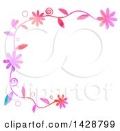 Clipart Of A Watercolor Floral Border With Bubbles Royalty Free Illustration