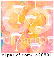 Clipart Of A Watercolor Background Of Cocktails Royalty Free Illustration