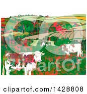 Watercolor Background Of Dairy Cows And Hilly Farm Land