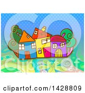 Clipart Of Colorful Homes And Trees Over Dots And Flowers Royalty Free Illustration