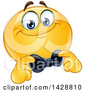 Cartoon Yellow Smiley Emoji Emoticon Face Adjusting His Bow Tie