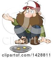 Cartoon Bearded Caucasian Homeless Man Begging For Money