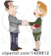 Clipart Of A Cartoon Caucasian Business Woman Shaking Hands With A Man Royalty Free Vector Illustration