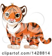 Clipart Of A Cute Tiger Cub Standing Royalty Free Vector Illustration by Pushkin