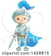 Cute Blond Caucasian Knight Boy Standing With A Sword And Shield