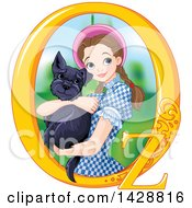 Clipart Of A Pretty Brunette Caucasian Young Woman Holding A Cairn Terrier Dorothy Wizard Of Oz Royalty Free Vector Illustration