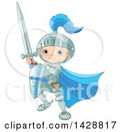 Clipart Of A Cute Blond Caucasian Knight Boy Fighting With A Sword And Shield Royalty Free Vector Illustration by Pushkin