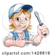 Clipart Of A Cartoon Happy White Female Electrician Holding Up A Screwdriver And Pointing Royalty Free Vector Illustration