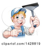 Clipart Of A Cartoon Happy White Male Window Cleaner In Blue Pointing And Holding A Squeegee Royalty Free Vector Illustration by AtStockIllustration