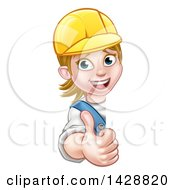 Clipart Of A Cartoon Happy White Female Worker Giving A Thumb Up Around A Sign Royalty Free Vector Illustration by AtStockIllustration