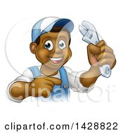 Poster, Art Print Of Cartoon Happy Black Male Plumber Holding An Adjustable Wrench And Pointing