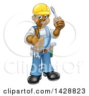 Clipart Of A Cartoon Full Length Happy Black Male Electrician Holding A Screwdriver And Giving A Thumb Up Royalty Free Vector Illustration by AtStockIllustration