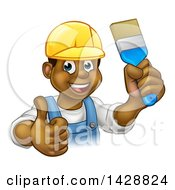 Clipart Of A Cartoon Happy Black Male Painter Holding Up A Brush And Giving A Thumb Up Royalty Free Vector Illustration