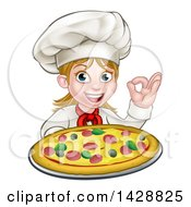 Clipart Of A Cartoon Happy White Female Chef Gesturing Perfect And Holding Up A Pizza Royalty Free Vector Illustration