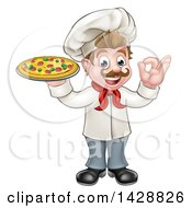 Clipart Of A Cartoon Happy White Male Chef Holding A Pizza And Gesturing Perfect Royalty Free Vector Illustration