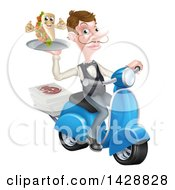 Clipart Of A White Male Waiter Holding A Souvlaki Kebab Sandwich On A Scooter Royalty Free Vector Illustration by AtStockIllustration