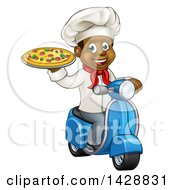 Clipart Of A Cartoon Happy Black Male Chef Holding A Pizza And Riding A Scooter Royalty Free Vector Illustration
