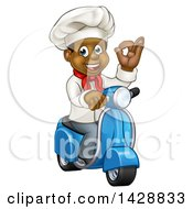 Clipart Of A Cartoon Happy Black Male Chef Gesturing Perfect And Riding A Scooter Royalty Free Vector Illustration by AtStockIllustration