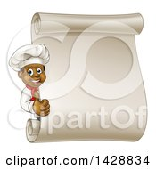 Cartoon Happy Black Male Chef Giving A Thumb Up Around A Blank Scroll Menu