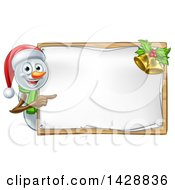 Clipart Of A Happy Snowman Wearing A Christmas Santa Hat And Pointing Around A Blank Sign Royalty Free Vector Illustration by AtStockIllustration