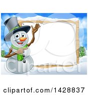 Happy Snowman Wearing A Top Hat And Presenting A Blank Sign In A Winter Landscape