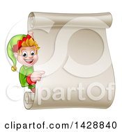 Clipart Of A Happy Caucasian Male Christmas Elf Pointing Around A Blank Scroll Sign Royalty Free Vector Illustration