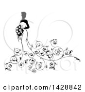 Clipart Of A Silhouetted Black And White Bride In A Wedding Gown With Swirls Royalty Free Vector Illustration